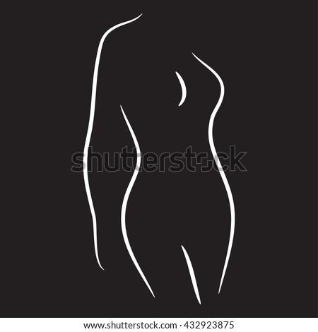 Woman shape silhouette vector illustration black and white lines