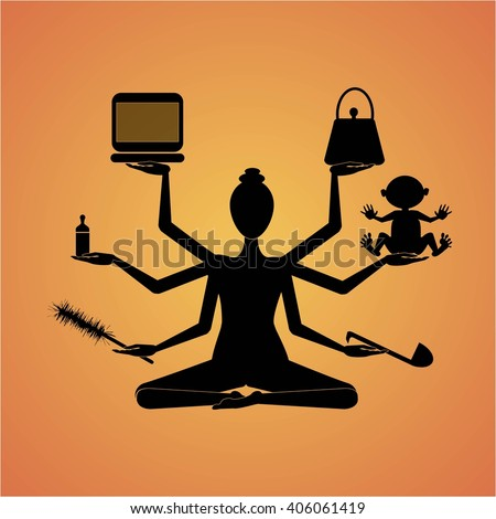 Woman Shiva with six hands - stock vector