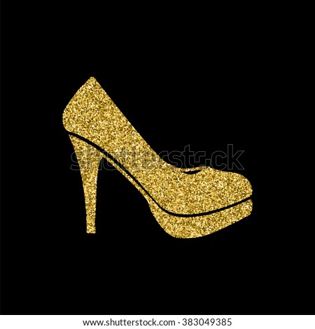 woman shoes icon, Gold glitter icon,  - stock vector