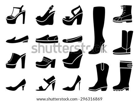 Woman shoes icons set. Fashion amd heel, footwear and boot, vector illustration - stock vector