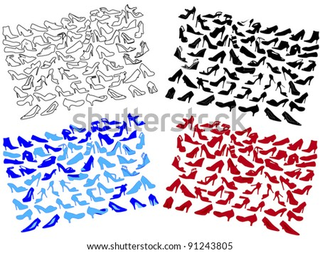 woman shoes silhouettes in four color on different layers - stock vector