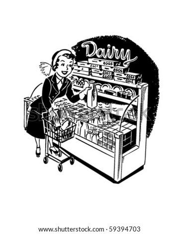 Woman Shopper At Dairy - Retro Clip Art - stock vector