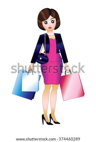 Woman Shopping - stock vector