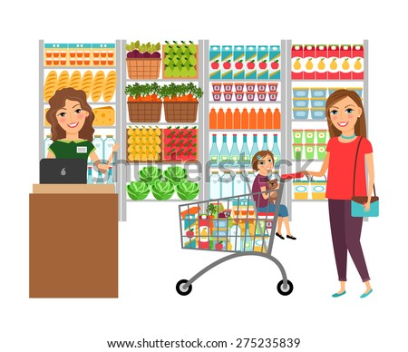 Woman shopping in grocery store. Customer market, sale supermarket, cashier and retail, vector illustration - stock vector