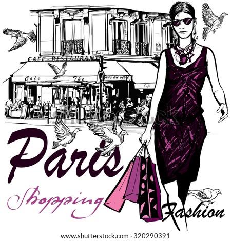 Woman shopping in Paris - Vector Illustration - stock vector