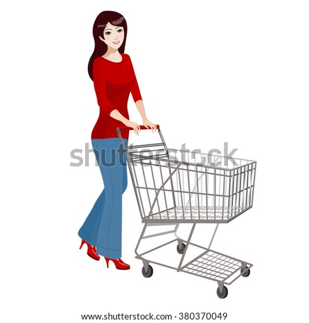 Woman shopping in supermarket. Women in pants with empty supermarket shopping cart isolated on white background. - stock vector