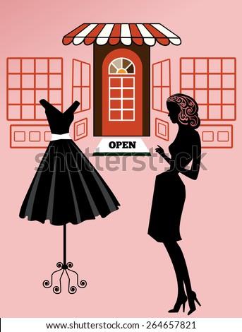 Woman shopping retro revival  - stock vector