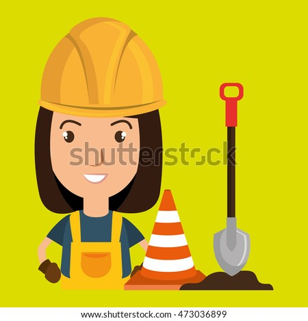 woman shovel warning construction vector illustration design