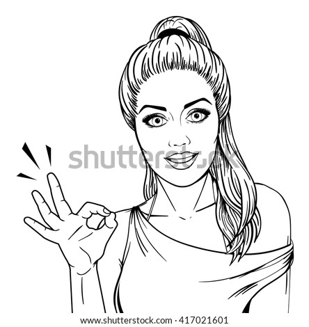 Woman showing OK hand sign line art comic sketch isolated on white background. Modern woman smiling and showing okay hand gesture. - stock vector