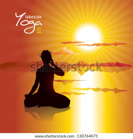 Woman silhouette doing Yoga practice on lakeside by sunset - stock vector