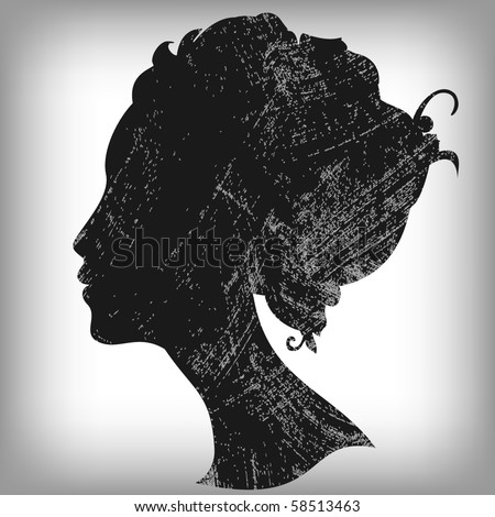 Woman silhouette in grunge style - stock vector