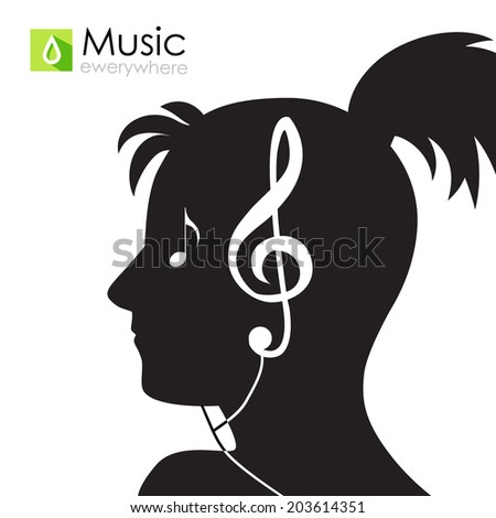 Woman silhouette picture. Music. Vector illustration - stock vector