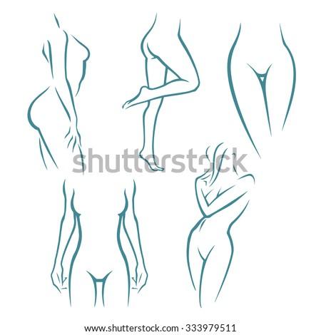 Woman silhouette set - stock vector