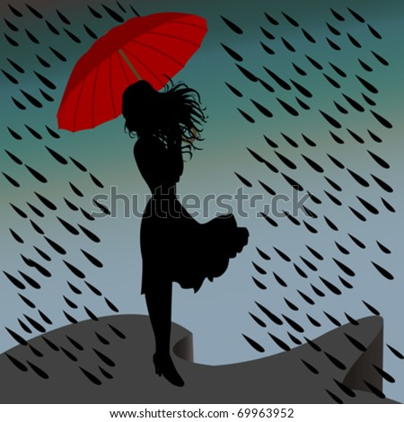 woman silhouette standing in the rain with an umbrella - stock vector