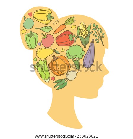 Woman silhouette thinks about vegetables and fruit in her head. Healthy food and lifestyle concept. Vector illustration - stock vector