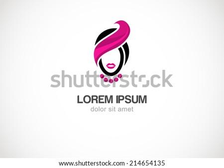 Woman  silhouette vector logo design template. Cosmetics, beauty, health & spa, fashion. - stock vector