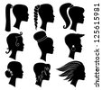 Woman silhouette with hair styling. Vector set - stock vector
