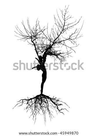 woman silhouette with roots on white background