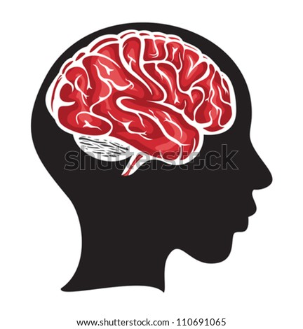 Woman silhouette with thinking brain - stock vector