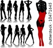 woman silhouettes 7 - stock vector