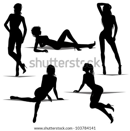 woman silhouettes (also available jpeg version) - stock vector