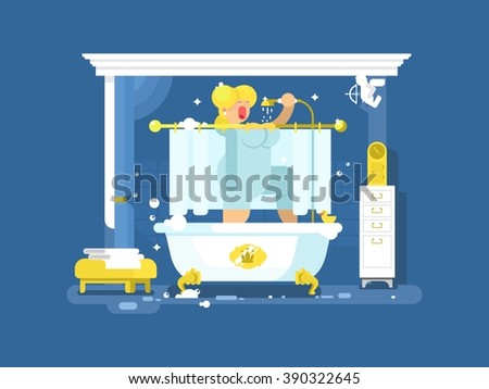 Woman singing in the shower - stock vector