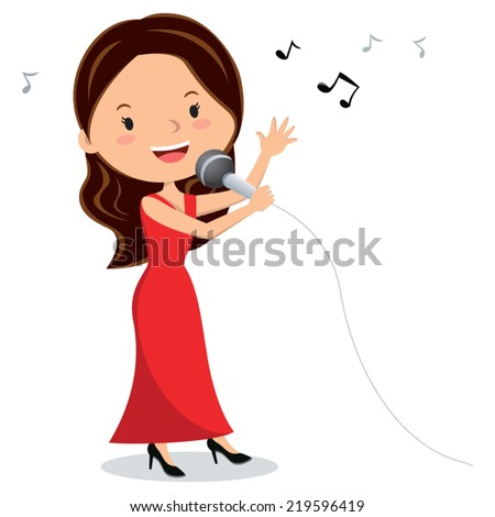 Woman singing. Young woman singing with microphone in her hand. - stock vector