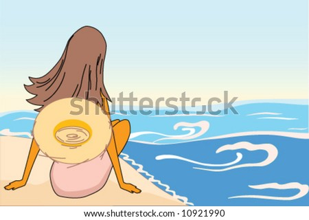 woman sit on sand beach and see to sea - stock vector