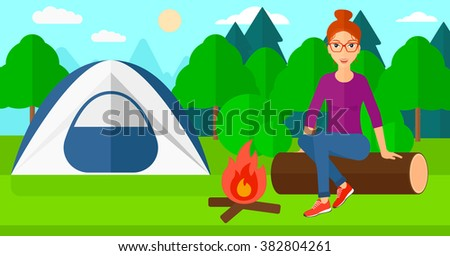 Woman sitting at camp. - stock vector