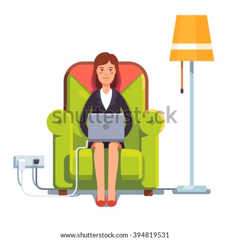 Woman sitting home in comfortable armchair and browsing or working on laptop at her laps. Flat style color modern vector illustration. - stock vector
