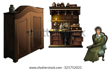 Woman sitting in an armchair, with wardrobe and sideboard, vector illustration - stock vector