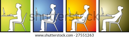 Woman sitting in front of a computer