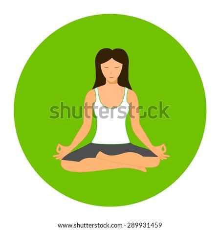 Woman sitting in yoga lotus position isolated - stock vector