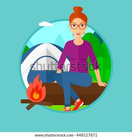 Woman sitting on a log near a fire on a background of camping site with tent. Young woman sitting near a campfire at a campsite. Vector flat design illustration in the circle isolated on background. - stock vector