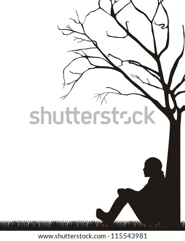 woman sitting under tree over white background. vector illustration - stock vector
