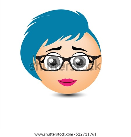 Woman smiles.A girl with glasses and short blue hair. Vector illustration.