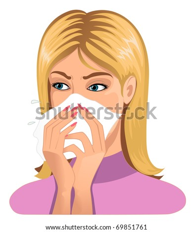 Woman sneezing in handkerchief - stock vector