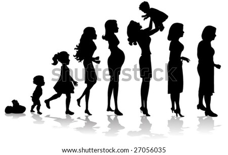 woman stages of development silhouettes - stock vector