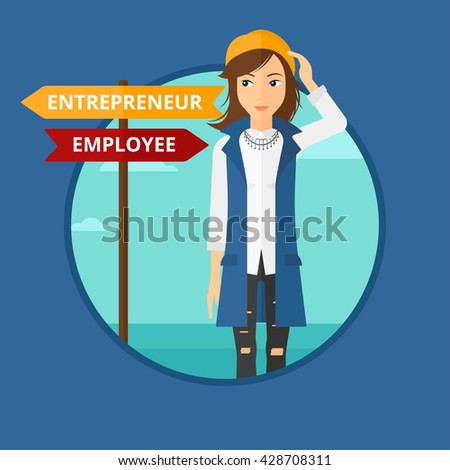 Woman standing at road sign with two career pathways. Woman choosing career pathway. Woman making a decision of her career pathway.Vector flat design illustration in the circle isolated on background.