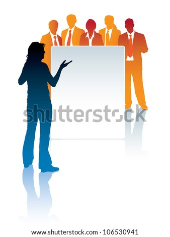 Woman standing in front of a poster, and a group of businesspeople is behind the poster