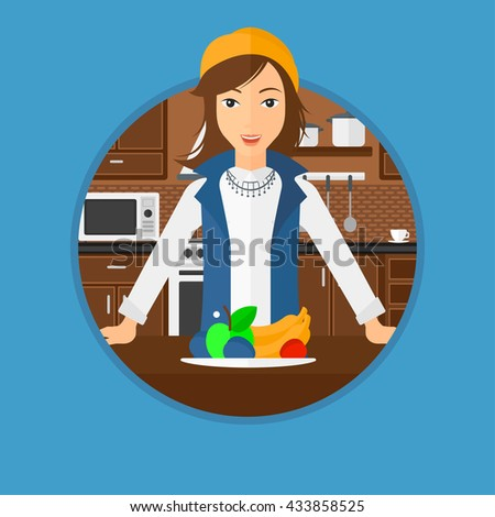 Woman standing in front of table full of fresh fruits in the kitchen. Woman with plate full of fruits. Healthy food concept. Vector flat design illustration in the circle isolated on background. - stock vector
