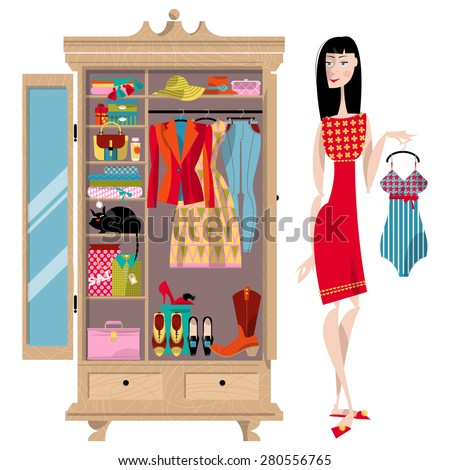 Woman standing near an open wardrobe. Closet with clothes, bags, boxes and shoes. Shopping Time. Vector illustration - stock vector