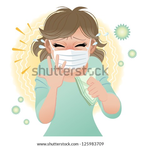 Woman suffering from pollen allergies sneezes. Gradients and blend tool is used. - stock vector