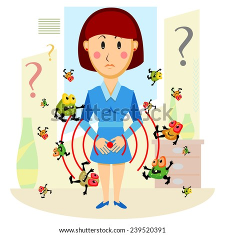 Woman surrounded by germs with hands on stomach with signal of pain  - stock vector