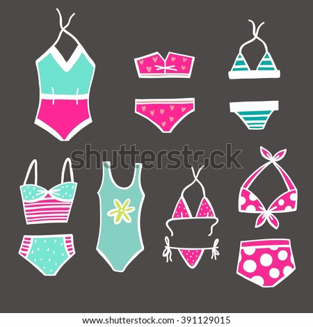 Woman swimwear vector print