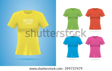 Woman T-shirt templates. Girls Colorful vector T-shirts isolated on background. Realistic mockup. - stock vector
