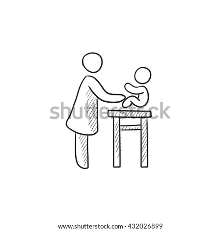 Woman taking care of baby vector sketch icon isolated on background. Hand drawn Woman taking care of baby icon. Woman taking care of baby sketch icon for infographic, website or app. - stock vector