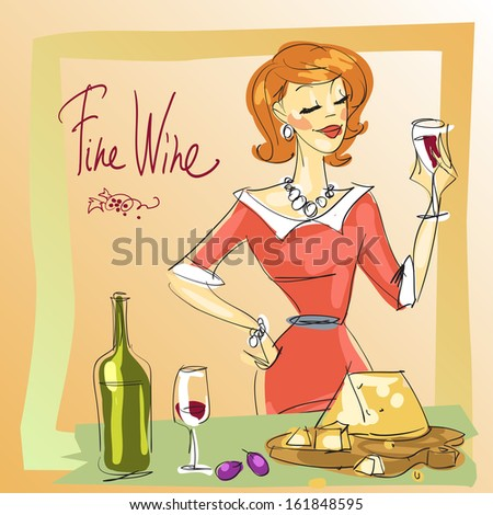 Woman tasting wine, vector sketch - stock vector