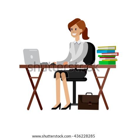 Woman teacher tutor at the desk.  Flat style vector illustration  - stock vector