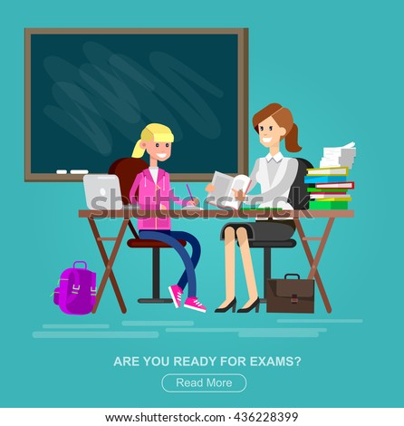 Woman teacher tutor tutoring girl kid at home. Mother helping daughter with homework. Flat - stock vector